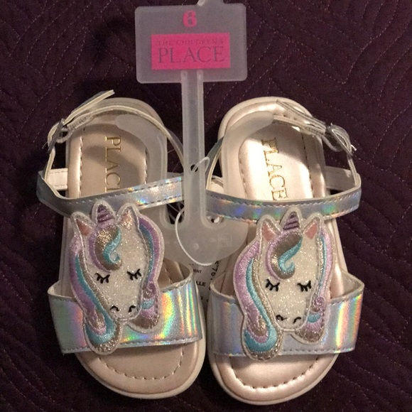 The Children's Place Other - Children's Place Unicorn Sandals Silver Size 6